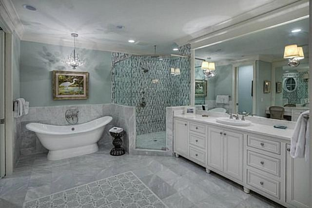 Beach Style Bathroom White Marble Design Ideas